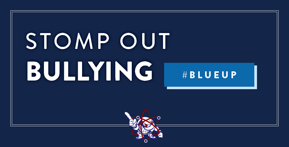 Middle School Atoms participate in the National Campaign, #BlueUp in efforts to Stomp Out Bullying and cyberbullying