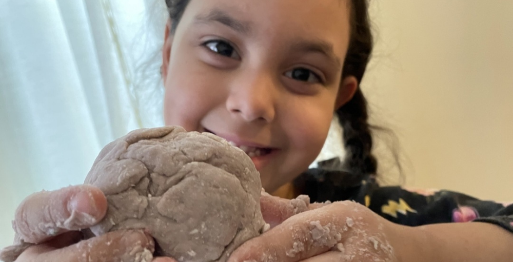 Kindergartners Get Messy with Cloud Dough