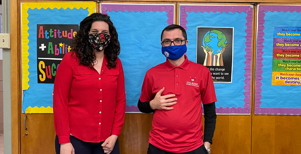 Utica Academy of Science middle school teachers wear SANY red to not only show their school spirit but also their support for the American Heart Association's 'Go Red for Women' Campaign - a campaign the students were actively involved in throughout the month of February.